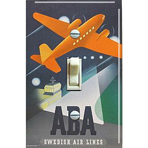1940s AB Aerotransport (ABA) Swedish Airlines Vintage Travel Poster Decorative Switch Plate by Freckle Face Switchplates on Opensky