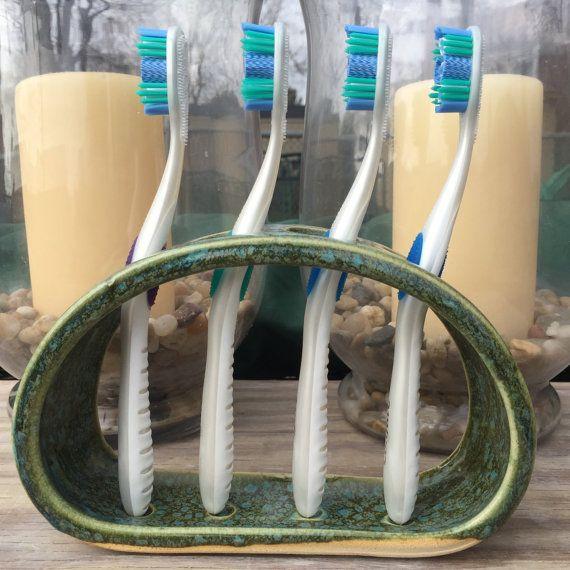 Toothbrush Holder Ceramic Mediterranean Green by BTRceramics