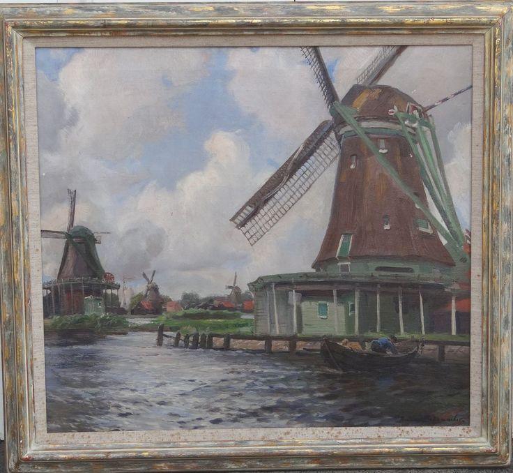 Hollandmühlen (bei ArtNet.de als: Niederrheinische Landschaft mit Windmühlen)