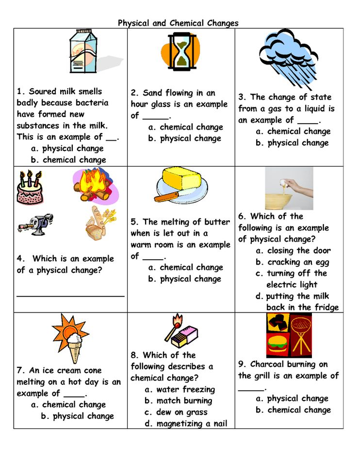 Physical And Chemical Change Worksheets For Kids Matter Science Chemical And Physical Changes Chemical Changes