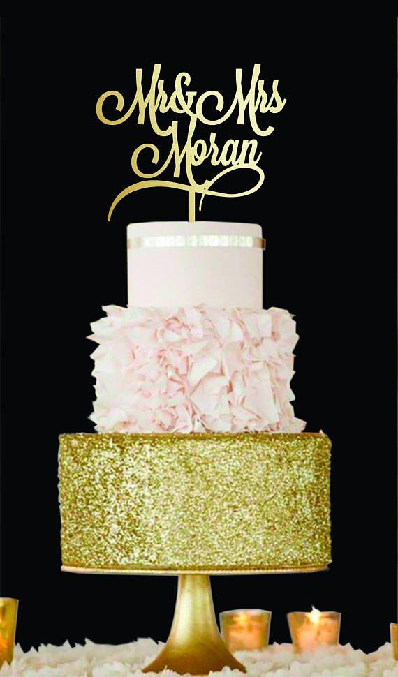 Surname cake topper Mr & Mrs Cake Topper Wedding cake topper Gold ...