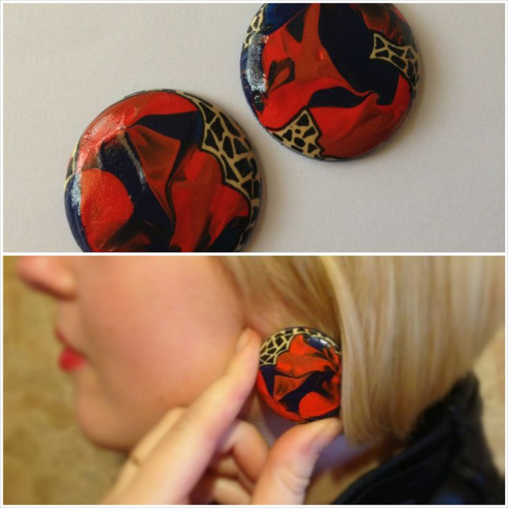 * Broken Pieces *  Material: wood Handpainted Ear studs: silver plated