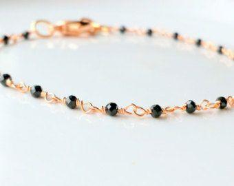 SALE Item - Rose Gold Black Spinel Bracelet, Rose Gold Spinel Anklet, Rose Gold Anklet, Rose Gold Bracelet, Dainty bracelet