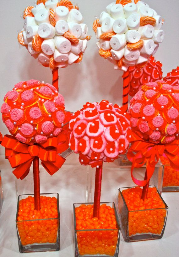 Orange Mango Pink Fuschia Gummy Bear Candy Centerpiece Topiary Tree, Candy Buffet Decor Arrangement Wedding, Mitzvah, Decor via Etsy