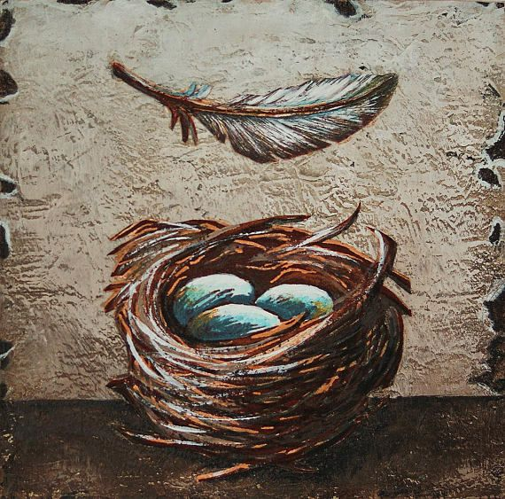 Original art bird's nest painting nest & eggs feather