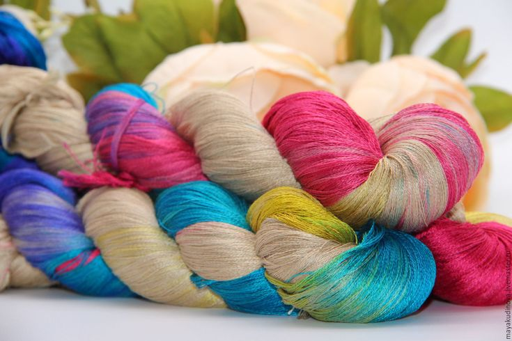 Купить Пряжа ручной окраски 100% шелк - комбинированный, пряжа для вязания спицами