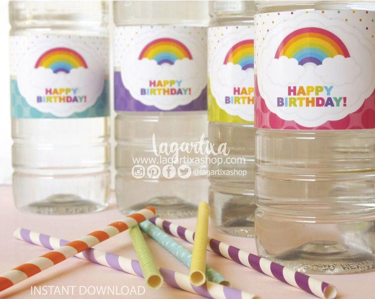 https://www.etsy.com/mx/listing/483291288/arcoiris-etiquetas-para-botellas-de-agua #waterbottlelabels #waterbottleflipchallenge #rainbow #partyideas #birthdaygirl #unicorn