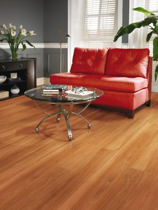 Floor Hardwood Classic Wood For Dining Room With A Red Sofa And Table Glass Too Small Closet In The Corner Of Also Flowers That