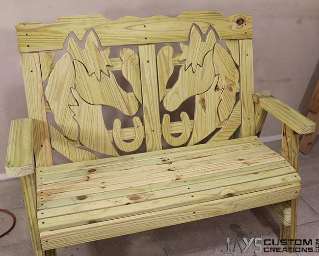 How To Make A Horse Themed Bench – Jays Custom Creations | Pocket Hole Projects | Pinterest | A ...