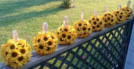 Sunflower kissing ball centerpiece by