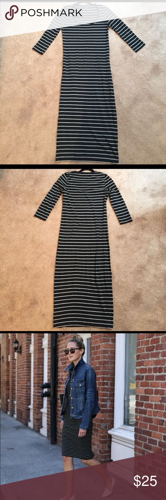 French connection jersey dress 👗 size 4 French connection jersey dress 👗 size 4. Worn gently maybe 3 times. Navy blue with grey stripes would look great worn with a denim jacket (3rd picture for inspiration, not actual dress but similar) French Connection Dresses Midi