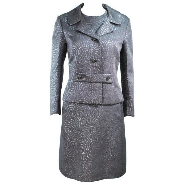 Preowned Silver Metallic 1960's Brocade Dress And Coat Ensemble Size... (535 SGD) ❤ liked on Polyvore featuring dresses, silver, suits, snap dress, back zipper dress, silver metallic dress, brocade dress and zip back dress