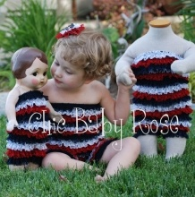 Chic Baby Rose USA petti rompers - great summer outfit, swimsuit cover or photo prop. Handmade in the USA.