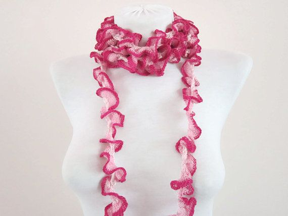 Crochet Scarf Fall Fashion Frilly scarf Ruffled by scarfnurlu