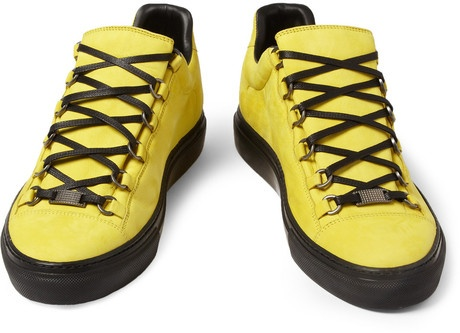 we need more of this yellow > Yellow Nubuck Balenciaga Arena Sneakers | UpscaleHype