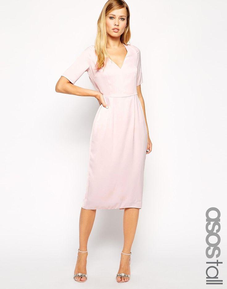 ASOS TALL Drape Back Pencil Dress With Sleeve