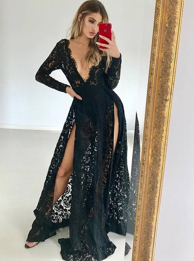 c2c72b5b6f4 Black Lace Deep V Neck Long Sleeves Prom Dresses with Split Floor Length  Evening Dresses