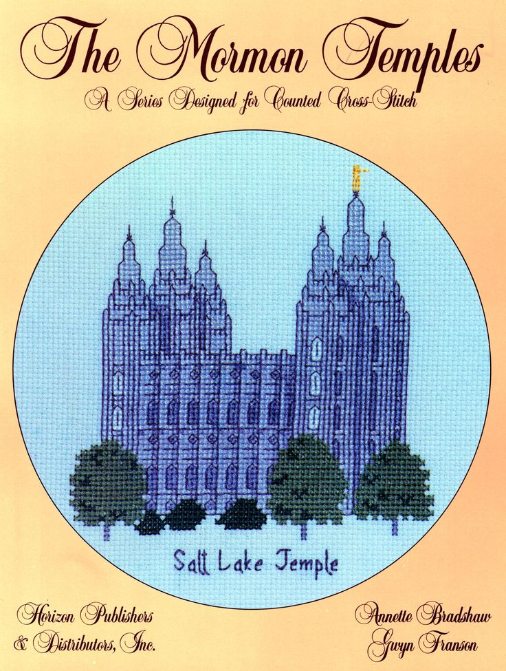 This leaflet contains a counted cross-stitch pattern and detailed instructions of the temple located in Salt Lake City, Utah. The design size is 72 x 81 squares.