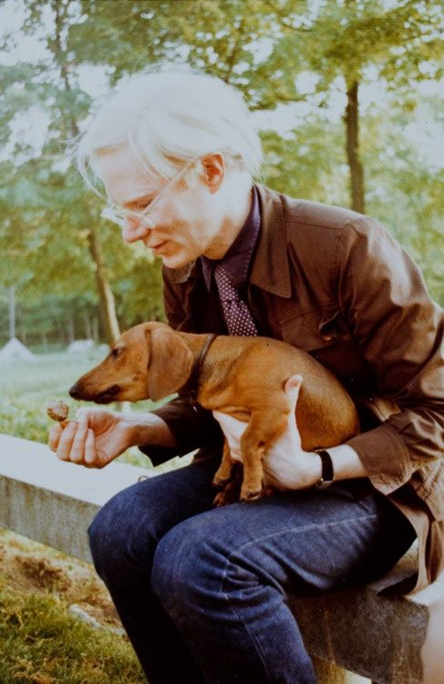 """Animal lover Andy Warhol with his doxie, Archie""  (or it could be Amos?)."