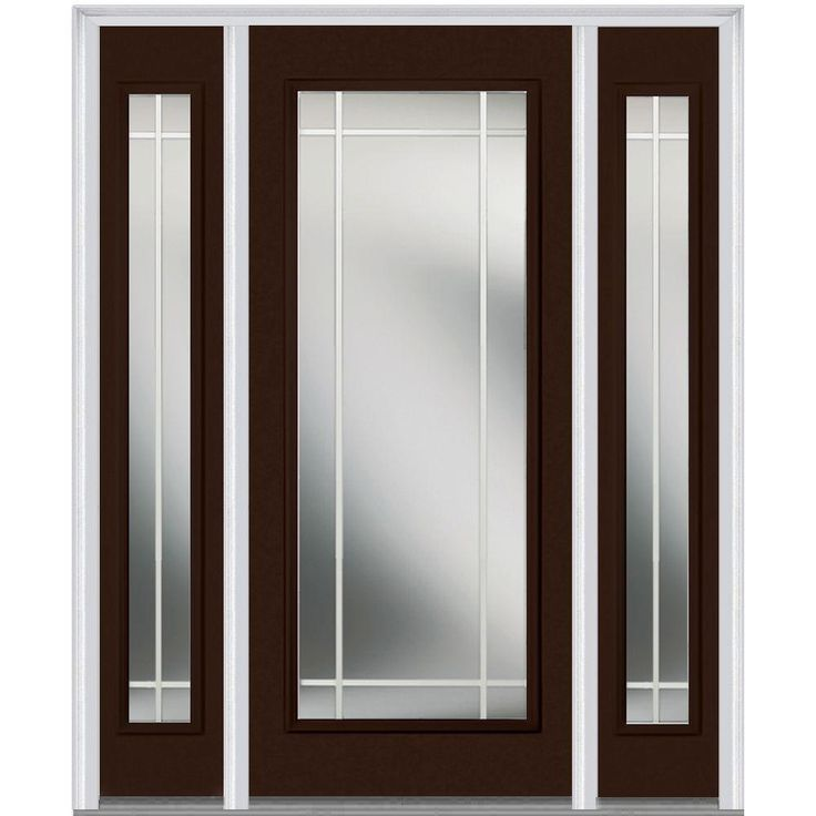 Milliken Millwork 68.5 in. x 81.75 in. Classic Clear Glass PIM Full Lite Painted Majestic Steel Exterior Door with Sidelites, Polished Mahogany