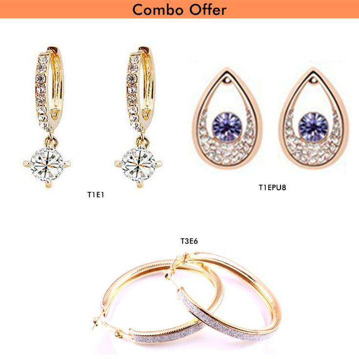 Buy #Beora Combo of Gold Plated #Stylish #Earrings At Rs.599.00 only. We offer free shipping and Cash on Delivery (COD) all over the #India.