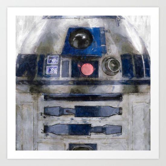 R2D2 Droid Robot art print #R2D2 #Droid #Robot #starwars #maytheforcebewithyou #scifi #geek #nerd #print #spacetheme #georgelucas #rebel #society6