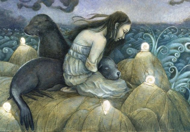 """Detail from """"Lost Selkie,"""" by Erika Taguchi-Newton."""