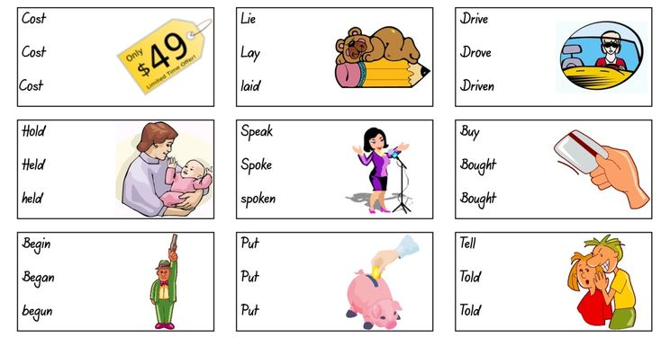 To learn the irregular verbs you can try the following 10 activities. There are three worksheets and 8 interactive quizzes and games.