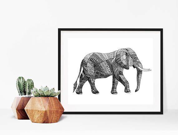 Download Print  PDF Elephant  Elephant Art  Wildlife