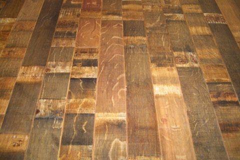 Reclaimed Wine Barrel Wood Floors.  These are the outside of the wine barrels.  Rift & Quartered White Oak