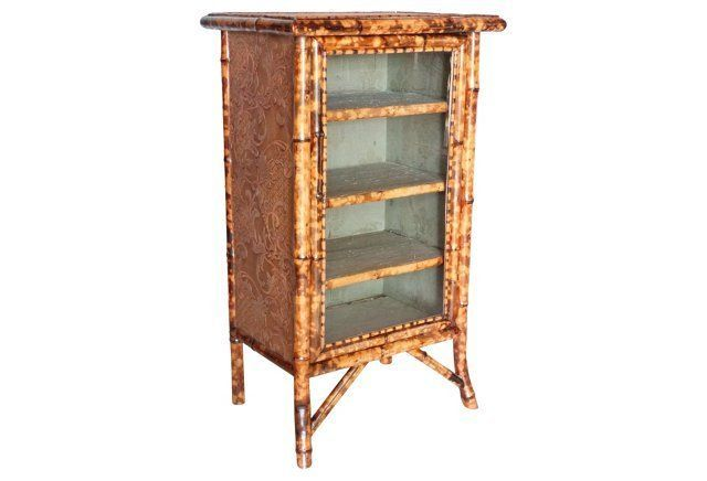 19th-C. French Tortoise Bamboo Cabinet