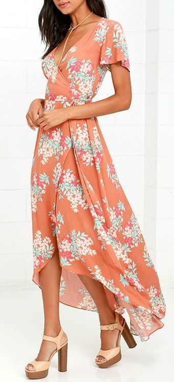 You'll be flourishing with style and grace once you slip into the Always in Bloom Burnt Orange Floral Print High-Low Wrap Dress! Mint blue, red, burnt orange, and cream floral print covers fluttering short sleeves and a wrapping bodice with waist tie. Breezy woven fabric cascades into a high-low skirt. #lovelulus