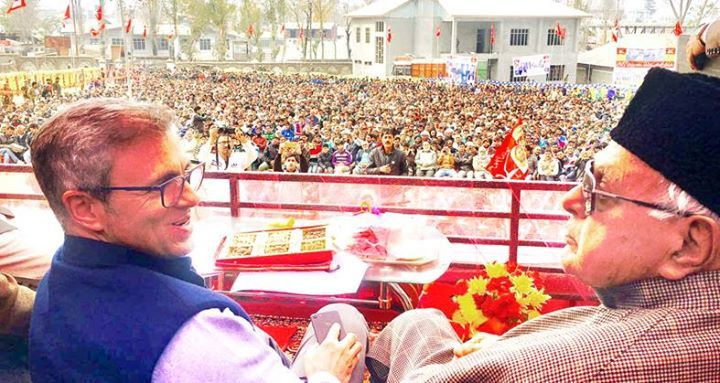 NC leaders Farooq Abdullah and Omar Abdullah at a public meeting in Kishtwar.