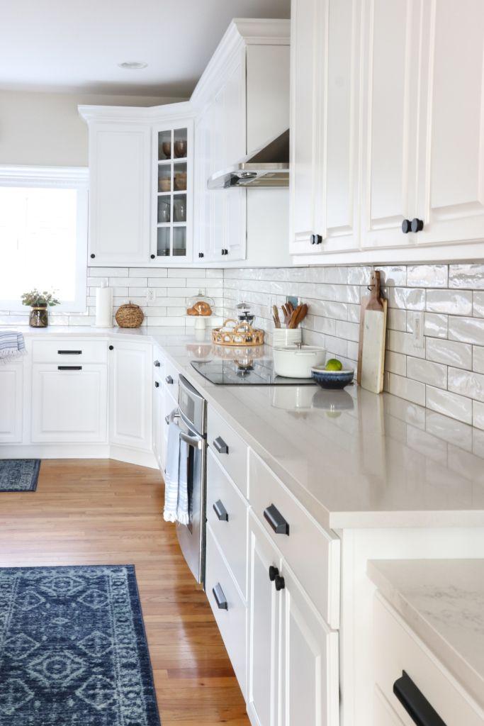 Earthy Coastal White Kitchen Reveal New Kitchen Cabinets White Kitchen Makeover Budget Friendly Kitchen Renovation