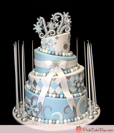 Winter Wonderland CakeWinter Wonderland, Bats Mitzvah, Cake Boxes, Winter Cake, Sweets Sixteen Cake, Wedding Cake, Wonderland Cake, Winter Birthday, Pink Cake