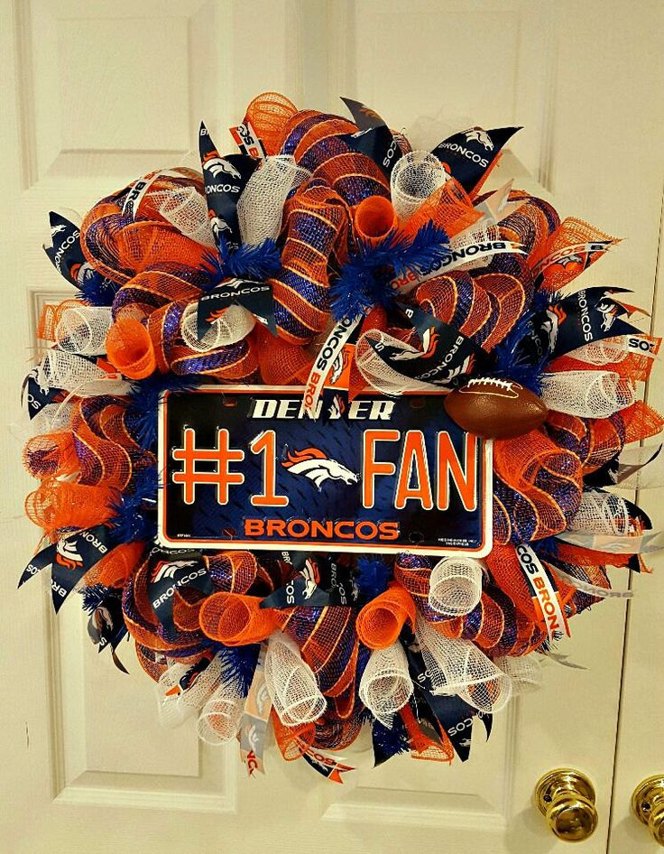 Denver Broncos Wreath - Sports Wreath - Football Wreath - Deco Mesh Wreath ~ 10.00 Flat Rate Shipping - pinned by pin4etsy.com