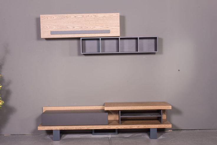 Μοντέρνα σύνθεση Corona με κρεμαστό χώρο αποθήκευσης και συρτάρια.Προσαρμόζεται σε διαστάσεις και χρώμα της επιλογής σας.