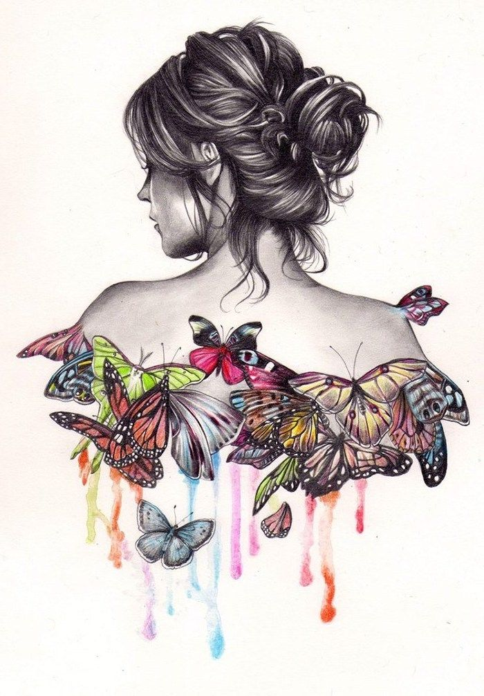 Woman With A Messy Bun Colourful Butterflies Fun And Easy Things To Draw White Background Art Drawings Beautiful Cool Drawings Draw On Photos