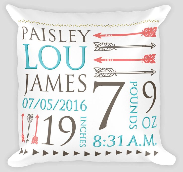 Personalized Birth Stats Pillow - Birth Stats - Newborn Baby Shower - New Baby Gift - Coral - Turquoise - Nursery - Bohemian Arrows Nursery by Studio5565 on Etsy https://www.etsy.com/listing/453573746/personalized-birth-stats-pillow-birth