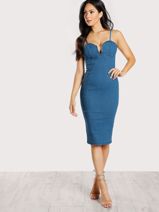 Online shopping for Bustier Inspired Denim Dress DENIM from a great selection of women's fashion clothing & more at MakeMeChic.COM.