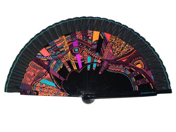 Abanicos de Marina, abanico pintado a mano. Negro abstracto multicolor. Spanish fan