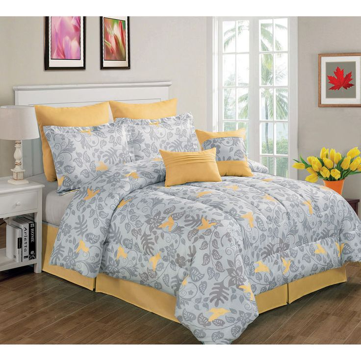 Gray and Yellow Forest Bird Comforter Set King- 8 Piece