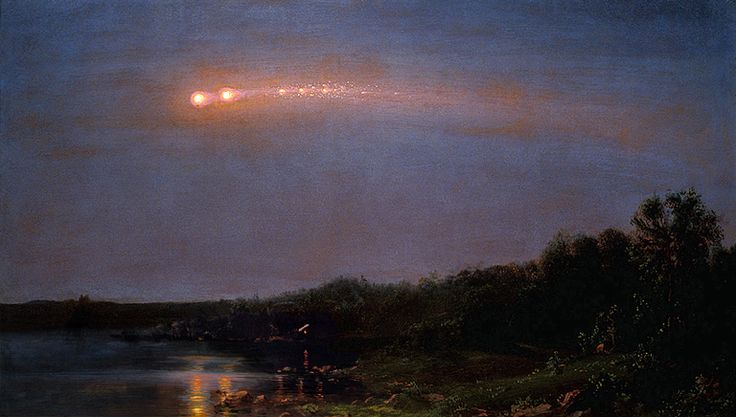 The Meteor of 1860.  Frederic Church (1826-1900), American landscape painter of the Hudson River School, painted what he saw in nature. And on July 20th, 1860, he saw a spectacular string of fireball meteors cross the Catskill evening sky, an extremely rare Earth-grazing meteor procession.