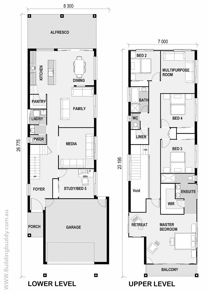 1000 ideas about narrow house plans on pinterest duplex for Narrow lot 4 bedroom house plans