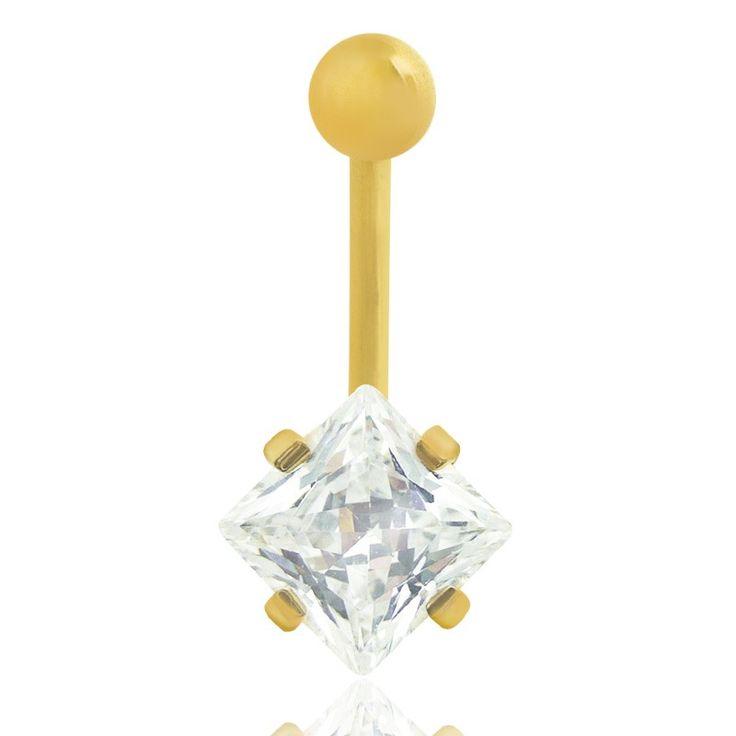 Piercing nombril or jaune avec brillant carré