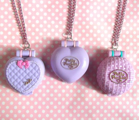 90s Polly Pocket lilac photo locket necklace by KawaiiKave on Etsy