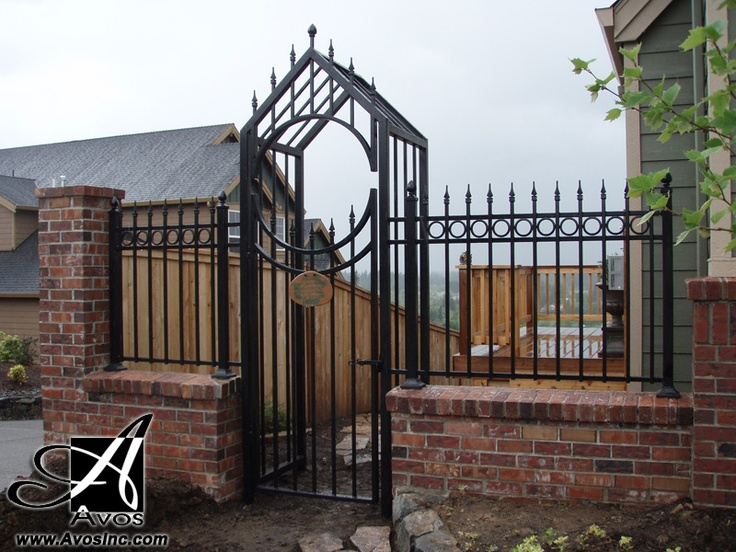 Lynaire Arbor With Ornamental Spear And Circles. Man Gate And Steel Latch. Garden  Gate