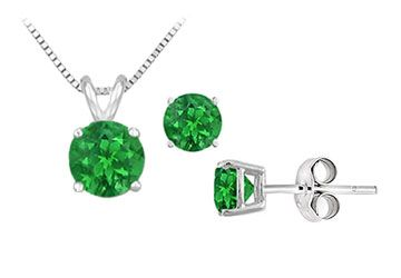 Frosted Emerald Solitaire Pendant with Earrings Set in Sterling silver 2.00 CT TGW