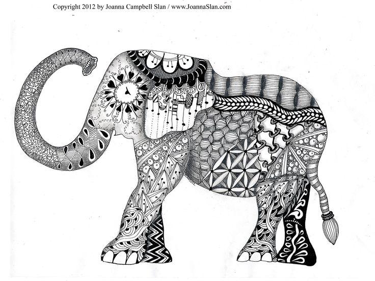 Elephant Zentagle Coloring Page