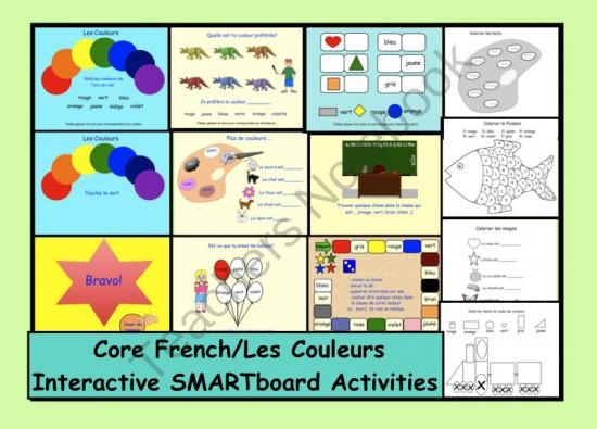 Les Couleurs: Interactive SMARTboard Activities from Teaching The Smart Way on TeachersNotebook.com (26 pages)